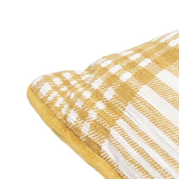 Pier 1 Gold Plaid Reversible Pillow