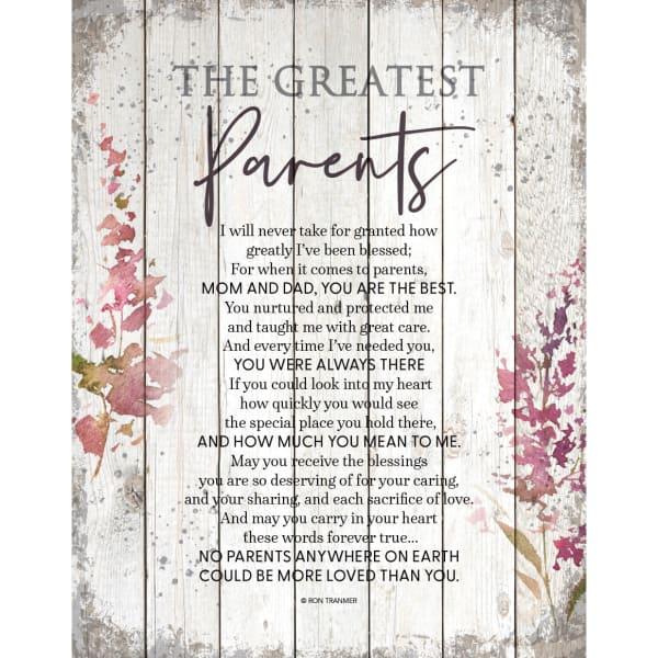 Greatest Parents Wood Plaque
