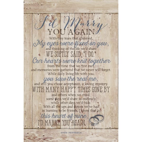 I'D Marry You Wood Plaque with Easel