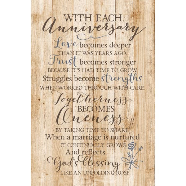 With Each Anniversary Wood Plaque with Easel