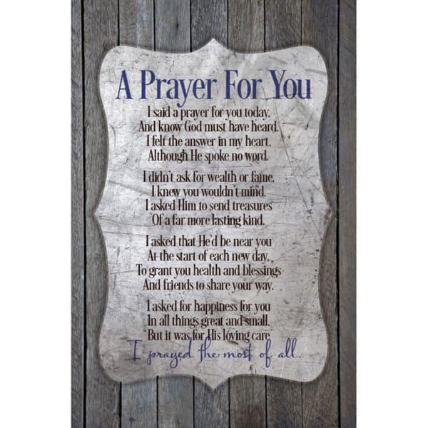 A Prayer For You Wood Plaque