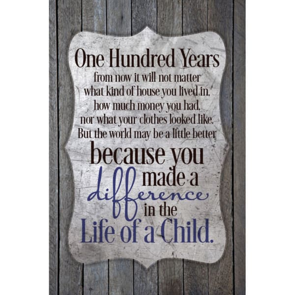 One Hundred Years Wood Plaque
