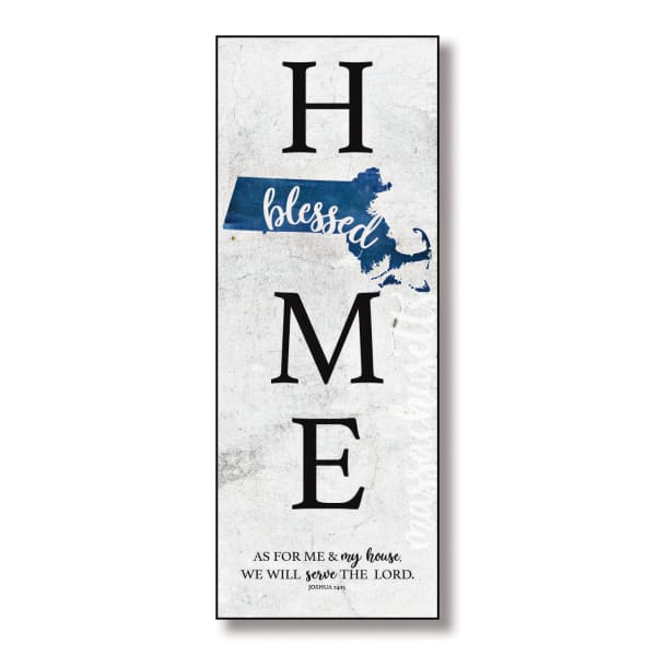 Massachusetts Home Blessed Wood Wall Plaque with Hanger