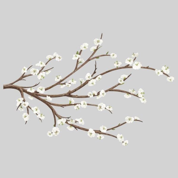 White Blossom With Flower Embellishments Branch Peel And Stick Giant Wall Decals