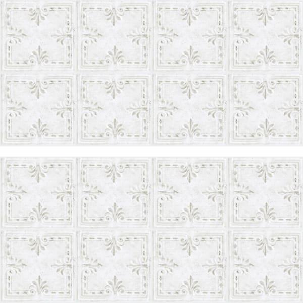 White Tin Tile Backsplash Peel And Stick Giant Wall Decals