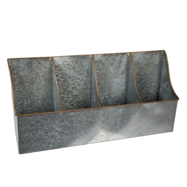 Silver Galvanized Metal 2-Pocket Storage Bin