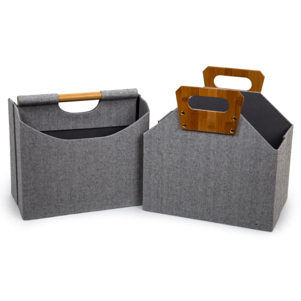 Woven Grey with Bamboo Handles Paper Storage Basket