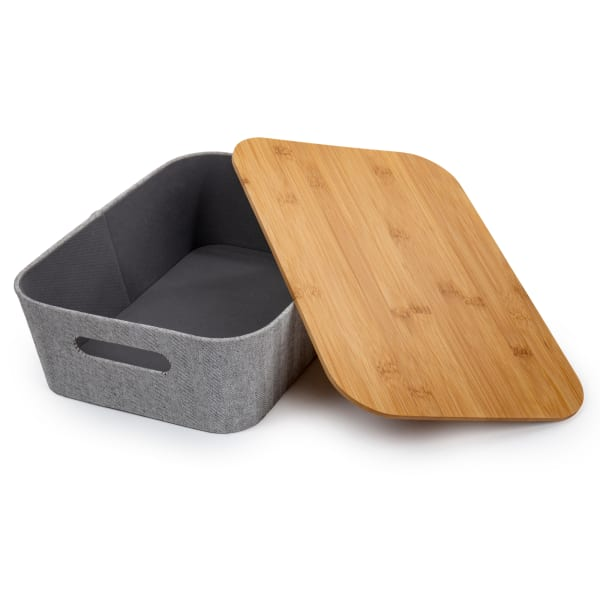 Woven Grey with Bamboo Lid Paper Storage Basket