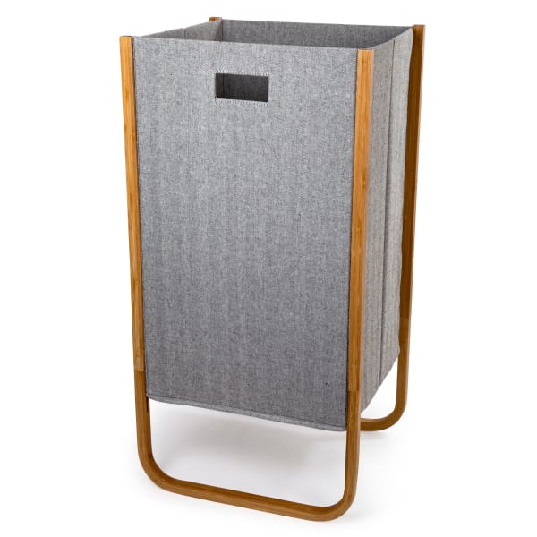 Woven  Grey with Bamboo Frame Paper Laundry Hamper