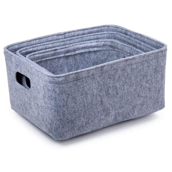 Felt Light Grey Set of 3 Storage Baskets