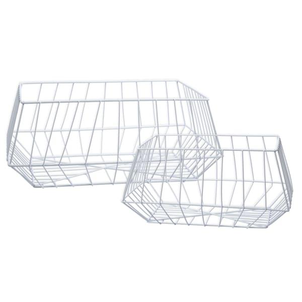 Wire Metal White Set of 2 Storage Baskets