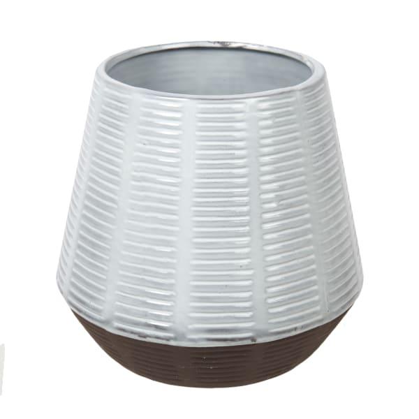 Artisan Grey Ceramic with Wood Stand Planter