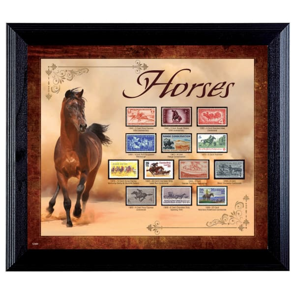 Horses on Stamps Wall Frame