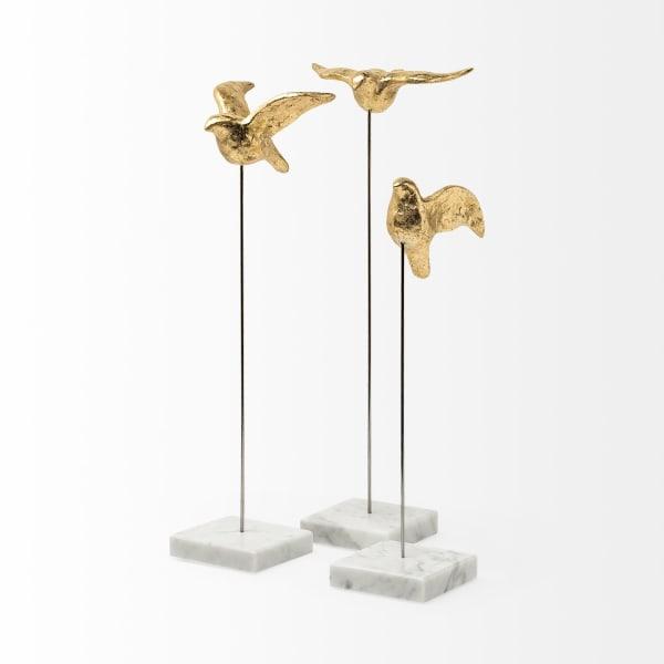 Aya Gold Metal Set of 3 Decorative Birds