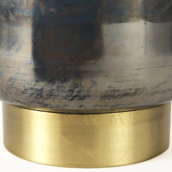 Caspian I Tall Blue Glass Antiqued Brass Bottom Vase