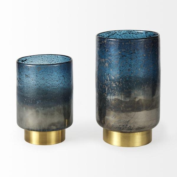 Caspian II Short Blue Glass Antiqued Brass Bottom Vase