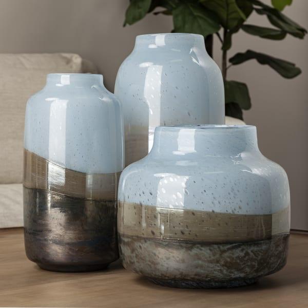 Nasser II Large Blue, Gold and Chrome Urn Style Glass Vase