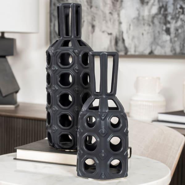 Brunel Large Black Drum-Shaped Ceramic Vase