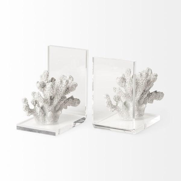 Delma White Coastal Coral Set of 2 Bookends