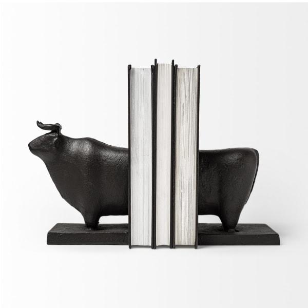 Taurus III  Black Cast Aluminum Bull Set of 2 Bookends