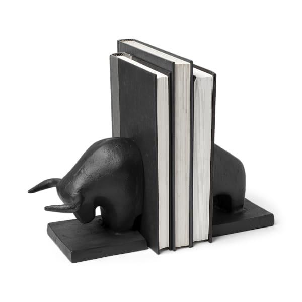 Tauro III Black Cast Aluminum Raging Bull Set of 2 Bookends