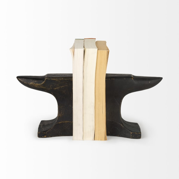 Anvilia Black With Gold Accents Anvil Shaped Set of 2 Bookends
