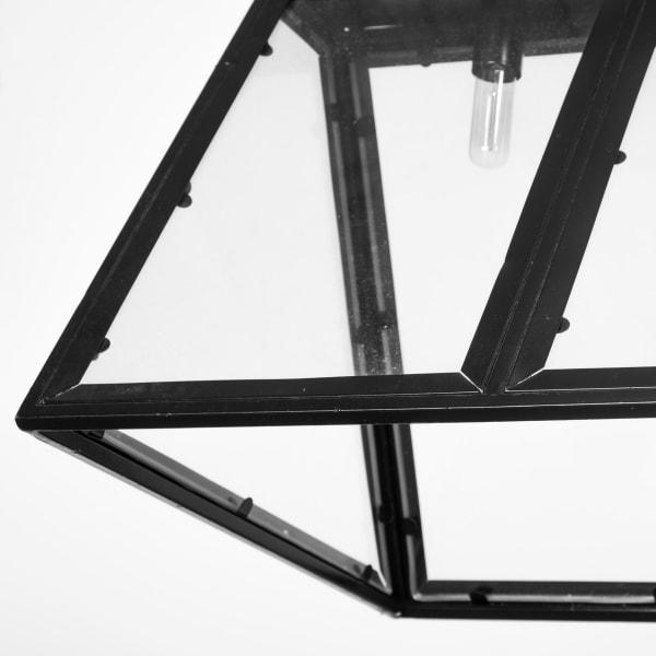 Antigon II Black Metal and Glass Five Bulb Chandelier