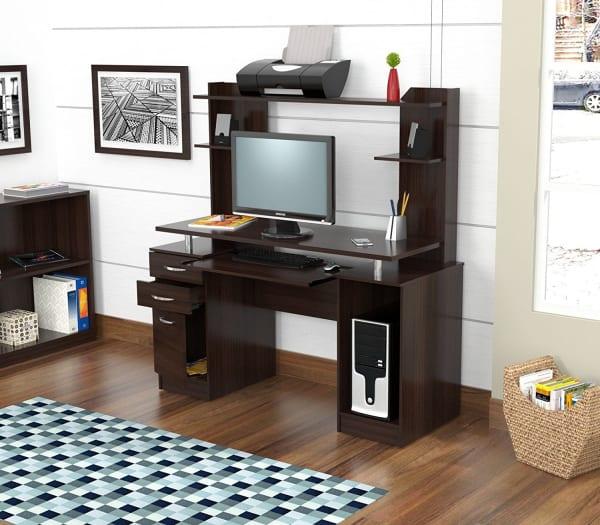 Espresso Finish Wood with Hutch Computer Desk