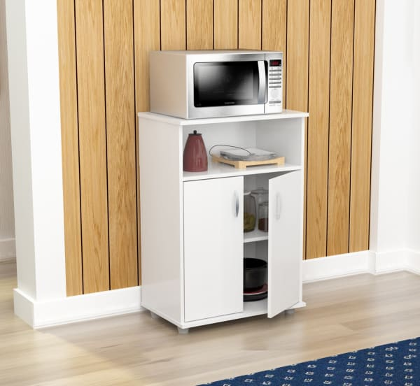White Finish Wood Microwave Cart with Cabinet