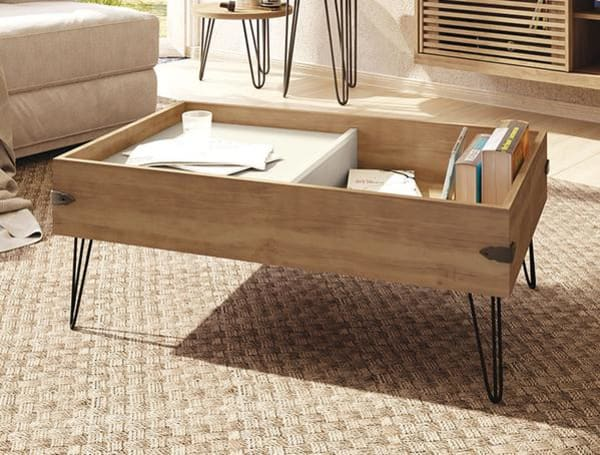 Rustic Iron And Wood Coffee Table With Sliding Tray
