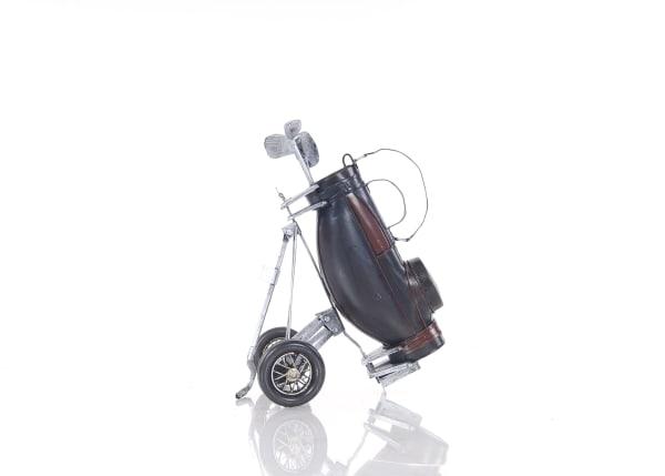 Handmade Vintage Black Golf Bag Sculpture