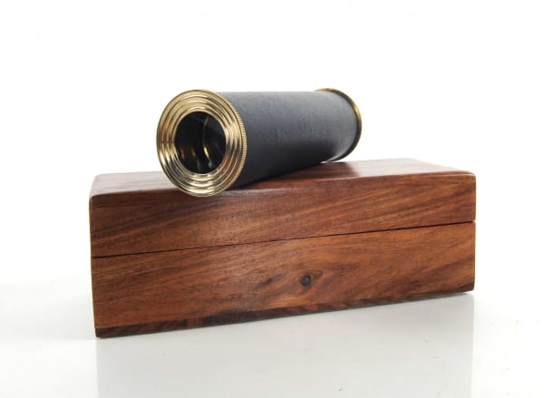 Black Leather and Brass Handheld Telescope in Wood Box