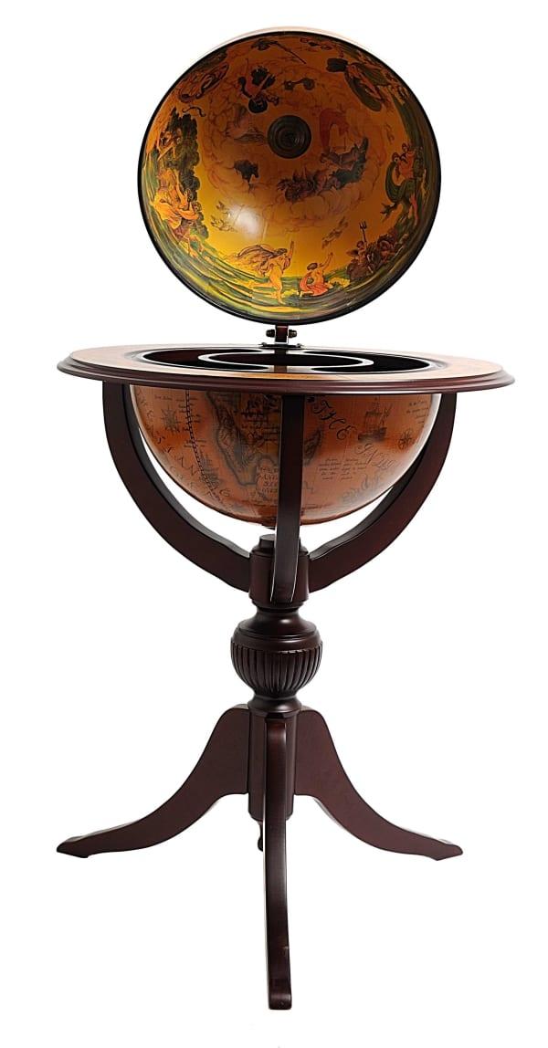 Old World Globe Hidden Storage Bar Tripod
