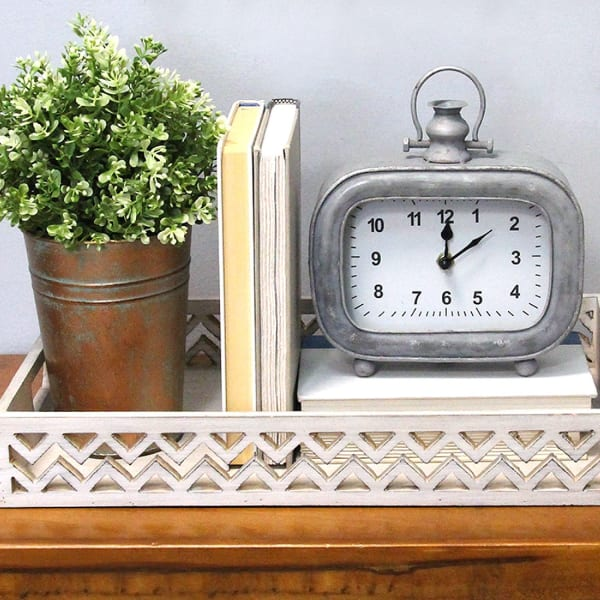 Distressed Arabic Metal Table Clock
