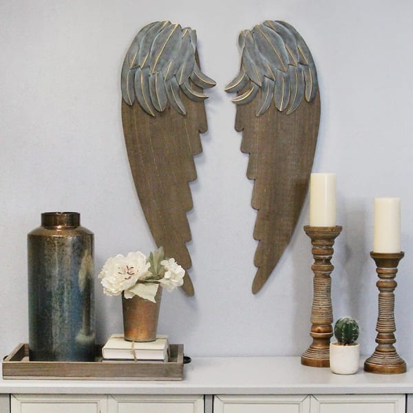 Feathery Carved Wood Angel Wings