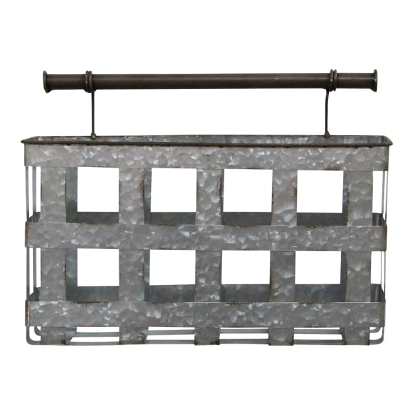 Galvanized Handcrafted Metal Wall Hanging Basket