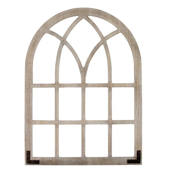 Distressed Wood Framed Window Arch Wall Decor