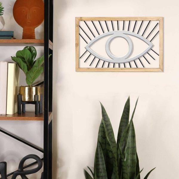 Boho Evil Eye Metal and Wood Frame Wall Art