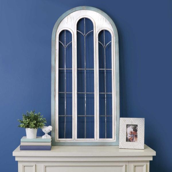 Blue & White Metal Window Panel