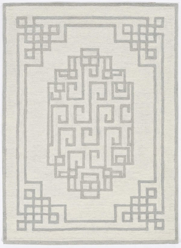 3' x 5' Ivory Grey Geometric Bordered Wool Area Rug
