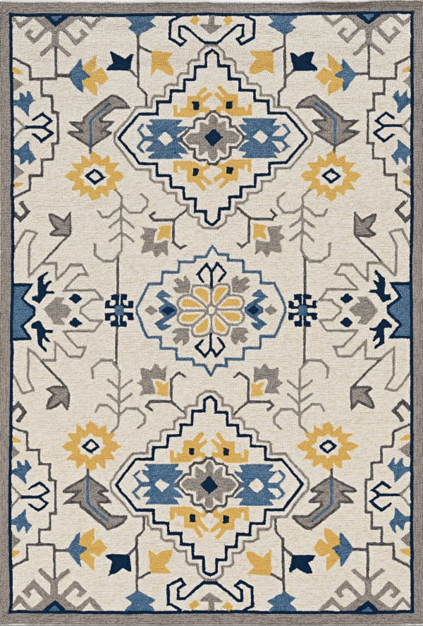3' x 5' Ivory Mosaic Floral Area Rug