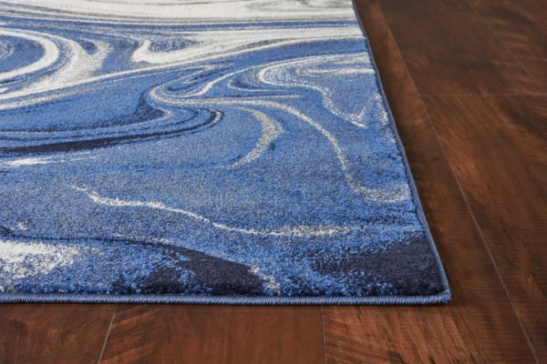 3' x 5' Blue Abstract Waves Area Rug