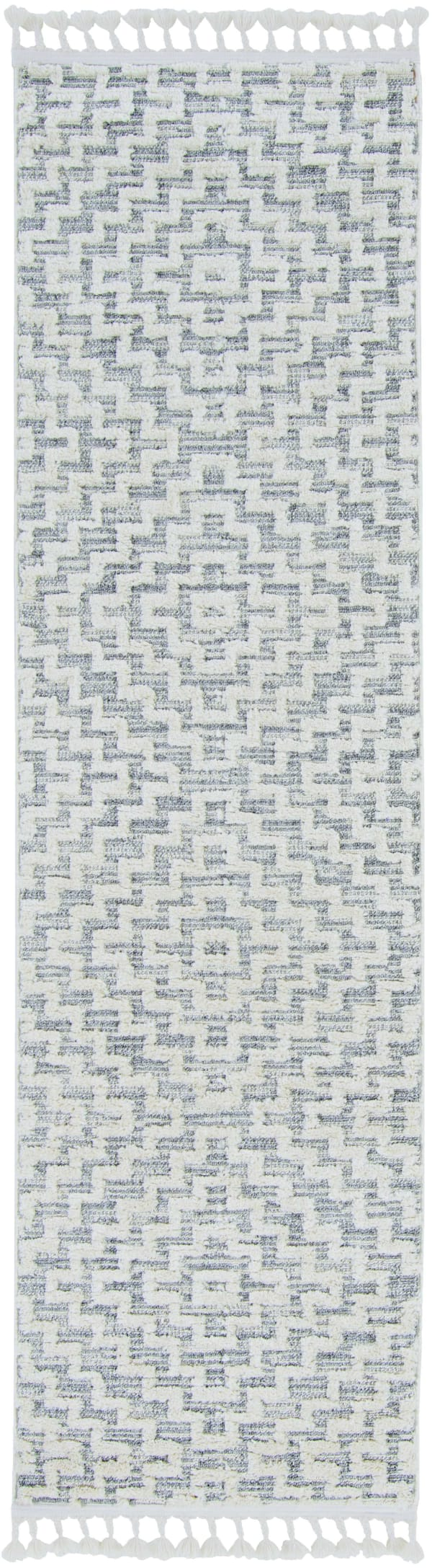 3' x 5' Ivory Grey Zigzag Diamonds Area Rug with Fringe
