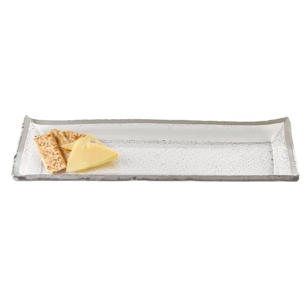 Silver Edge Mouth Blown Serving Platter