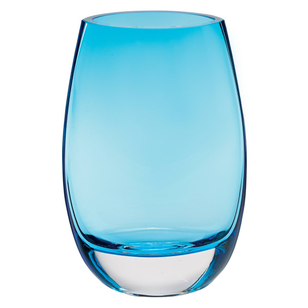 Crystal Lead Free Oval Thick Aqua Blue Walled  Mouth Blown Vase