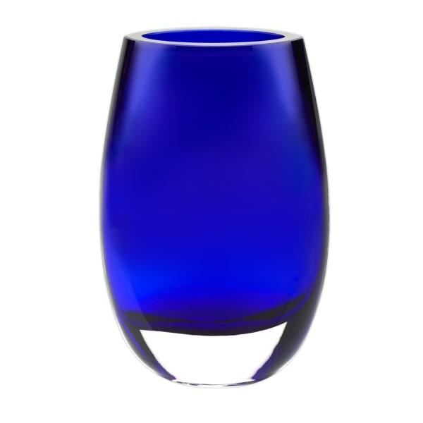 Crystal Cobalt Blue Mouth Blown  Vase