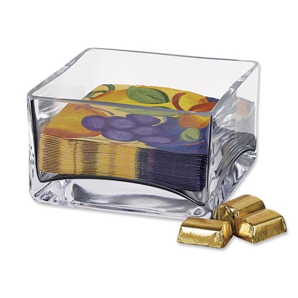 Square Mouth Blown Glass Bowl or Cocktail Napkin Holder