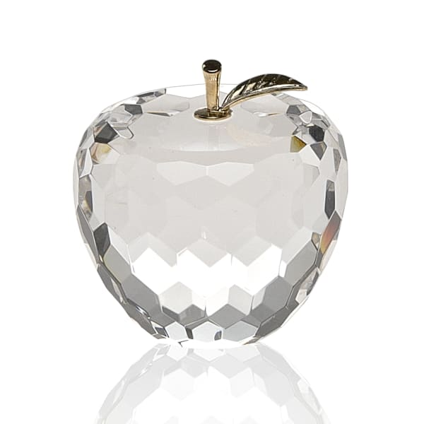 Gold Crystal Faceted Apple with Gold Leaf Paperweight