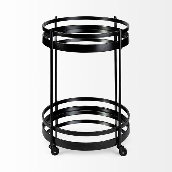 Two Mirror Glass Botton Shelves Black Metal  Bar Cart