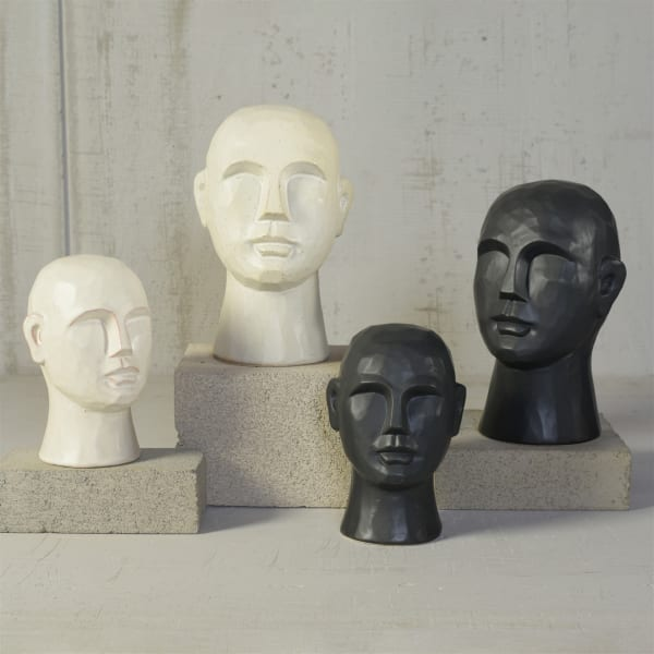 Geometric Large Matte Black Ceramic Bust